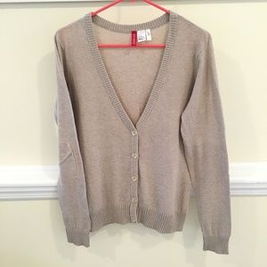 3/$12 H&M Oatmeal Elbow Patch Cardigan Size 12